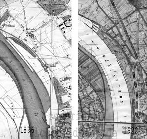 A154 Die Düsseldorfer Rheinufer von 1898. Hier ist die sogenannte 'Golzheimer Insel' deutlich zu erkennen. Q Stadtplan Düsseldorf 1896 u 1922