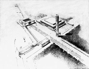 A351 Entwurf für den Abschluss der 'Straße des Lebens' mit dem Feuerturm Q NL Emundts 9 Foto Julius Söhn