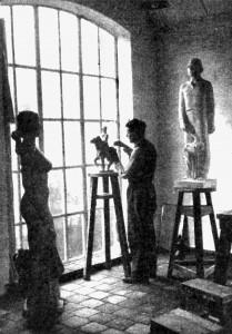 A560 Der Bildhauer Kurt Zimmermann in seinem Atelier, rechts die Skulptur 'Bauer' für die Ausstellung Q Meine Heimat 4.1937.84