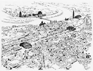 A816 Das Düsseldorfer Stadtgebiet mit den dunkel hervorgehobenen geplanten Bauten für Partei und Wirtschaft Q Archiv KAD, Personenverzeichnis Heyne