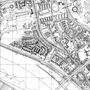 A830 Kartenausschnitt des ehemaligen Ausstellunggebietes. Die noch heute vorhandenen Anlagen und Gebäude der Ausstellung sind schwarz markiert. Q Niels Gutschow