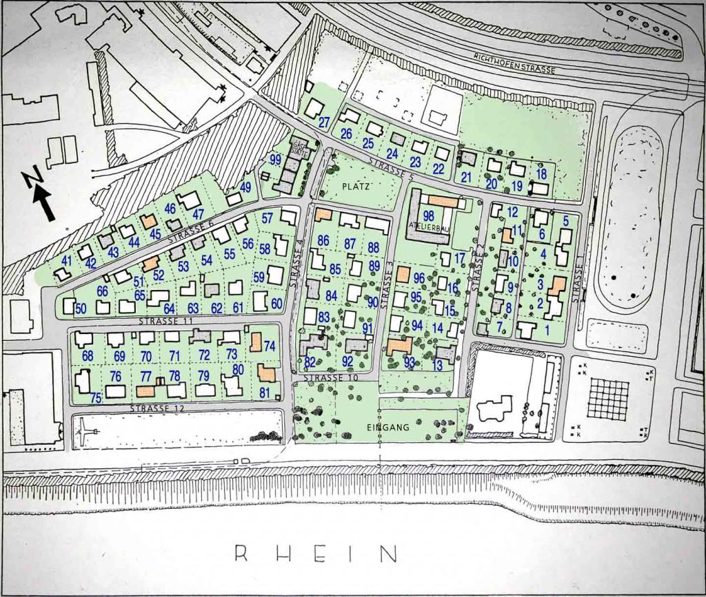 Abb 313 Plan Schlageterstadt mit markierten Musterhäusern, Beispeilhäusern und Grundstücksnummern